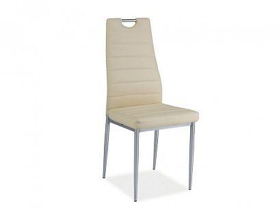 H-260 jídelní židle, ecokůže krémová/chrom