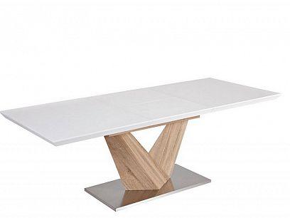 Alaras Jídelní stůl 160, Bílý vysoký lesk/dub sonoma