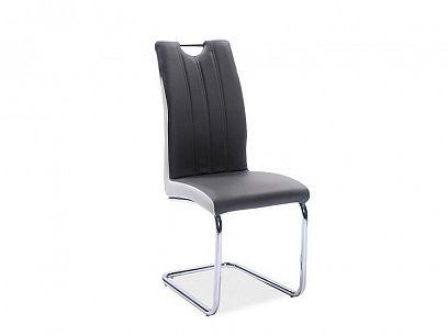 H342 jídelní židle, ekokůže šedá/bílá