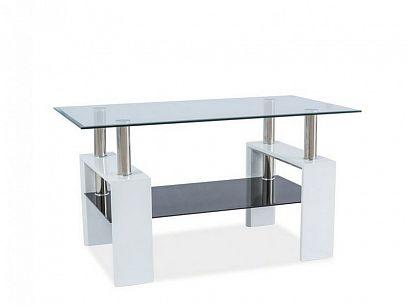 Lisa III Konferenční stolek, bílý lesk/sklo