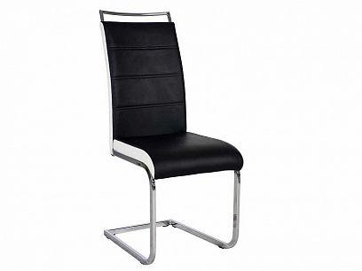 H441 jídelní židle, ekokůže černá/lem bílá