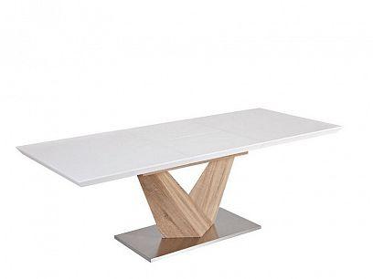 Alaras Jídelní stůl 140, Bílý vysoký lesk/dub sonoma