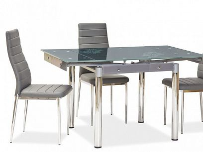 GD-082 Jídelní stůl, šedá kov/tvrzené sklo šedá