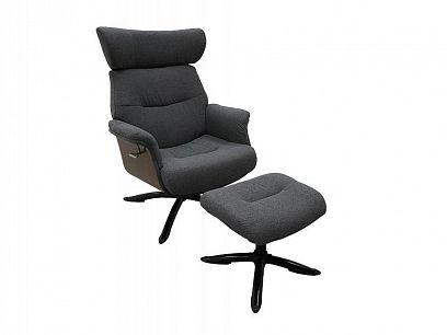 RELAXLINE relaxační křeslo s podnožkou, tmavě šedá