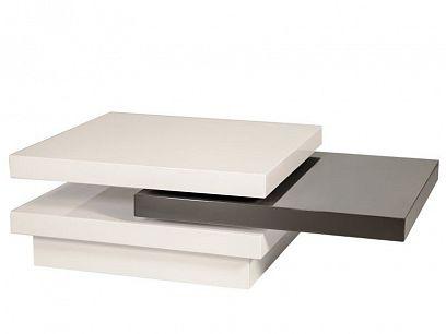 TRISTA  konferenční stolek, bílá vysoký lesk/šedá