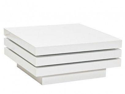 TRISTA  konferenční stolek, bílý, vysoký lesk