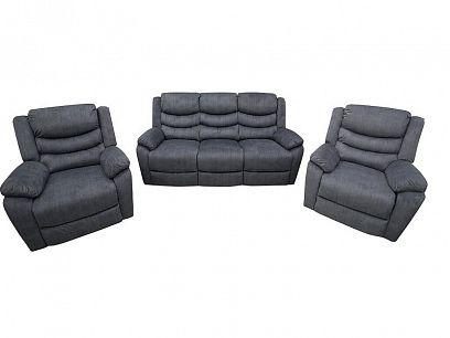 TIMOR Relaxační sedací souprava, pohovka + 2 křesla, tmavě šedomodrá