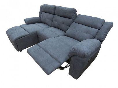 MUSTANG relaxační rohová sedací souprava, pravá, tmavě šedomodrá
