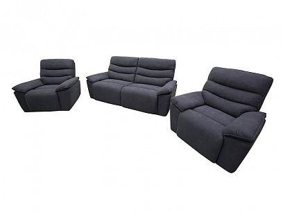 EVELIN Relaxační sedací souprava, pohovka + 2 křesla, tmavě šedá