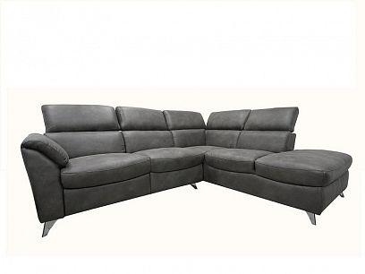 BRODWAY relaxační rohová sedací souprava, elektrická, levá, tmavě šedá