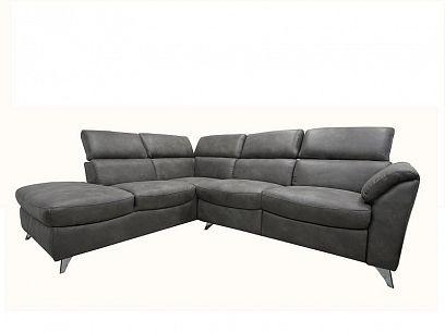 BRODWAY relaxační rohová sedací souprava, elektrická, pravá, tmavě šedá