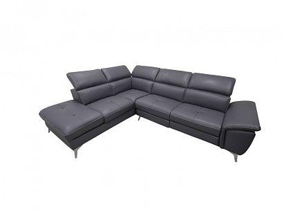 DANTE relaxační rohová sedací souprava elektrická, pravá, kůže, tmavě šedomodrá