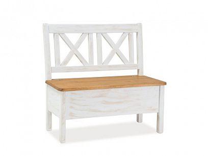 PROVANCE NEW jídelní lavice, dub medový/borovice bílá patina