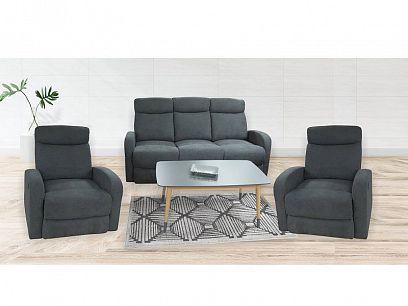 ARUBA NEW Relaxační sedací souprava, pohovka + 2 křesla, tmavě šedá 103-32