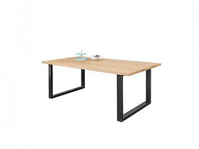 Malta jídelní stůl 140 cm, dělená deska, dub přírodní/kov