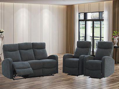 ARUBA NEW relaxační sedací souprava, pohovka + 2 křesla, tmavě šedá 103-27