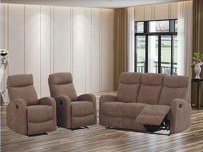 ARUBA NEW relaxační sedací souprava, pohovka + 2 křesla, hnědá
