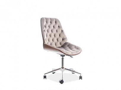 ARIZONA VELVET kancelářská židle, šedá/ořech