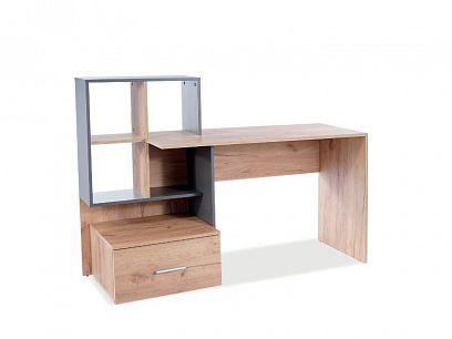 BARBORA 3 psací stůl, dub wotan/šedá