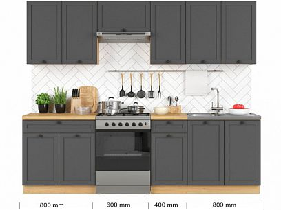 Kuchyň Semi Line 260, verze 4, grafit/dub reveal