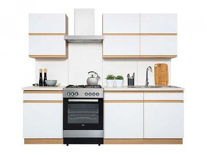 Kuchyň Semi Line 180, verze D, dub reveal/bílý lesk
