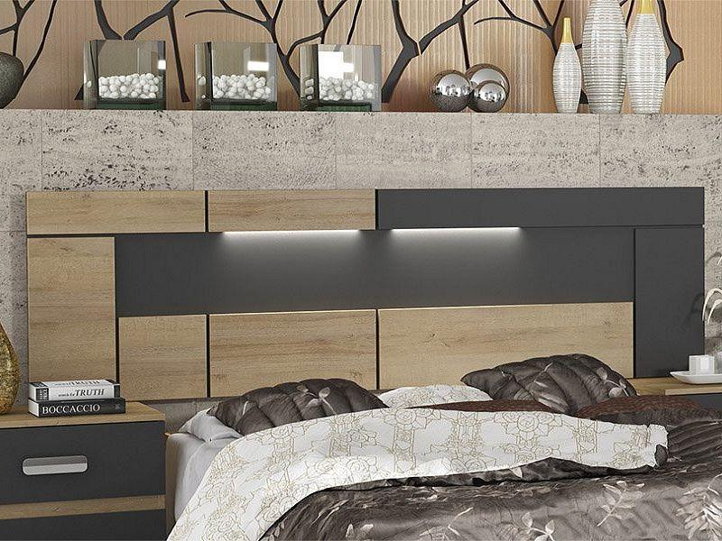 14e8d799a9325 Madrid záhlaví postele dub riviera světlý/šedá - ORFA Nábytek