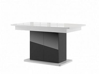 STARS 03 rozkládací jídelní stůl, bílý lesk/černý lesk