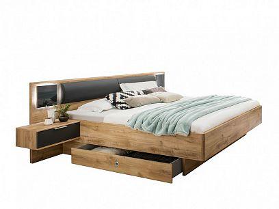VALERIANA K99-141 postel 180 cm, s nočními stolky a osvětlením, Dub planket /šedá