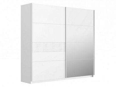 SNOW S2 šatní skříň, bílý lesk/riffled