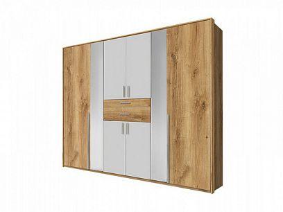 OTAVA  K89 - 244 šatní skříň, bez okrasné lišty, Dub planket/bílá