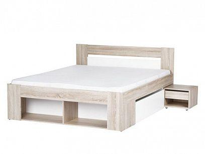 MILO 08 postel 140 + 2 noční stolky, dub sonoma/bílá