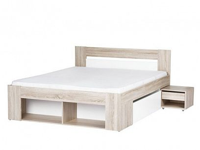 MILO 09 postel 160 + 2 noční stolky, dub sonoma/bílá