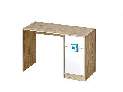 NIKOS 10 psací stůl, bílá/dub jasný - úchyt tyrkys