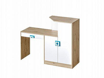 NIKOS 11 psací stůl, bílá/dub jasný - úchyt tyrkys
