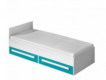 GOLIÁŠ 11 postel, bílá/tyrkys - úchyt bílá