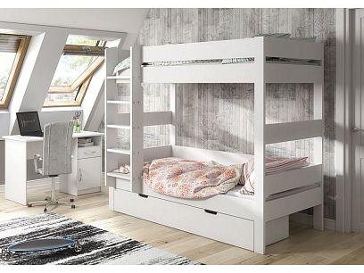 MERLIN dvoupatrová postel, bílá