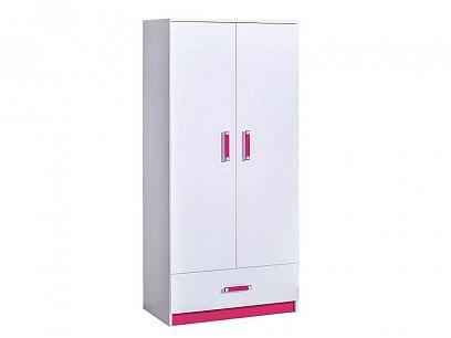 TRUFEL 1 šatní skříň, bílá/růžová