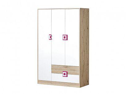 NIKOS 3 šatní skříň 120, bílá/dub jasný - úchyt růžová