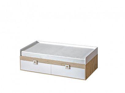 NIKOS 14 postel 90 + úložný prostor, bílá/dub jasný - úchytka bílá