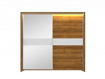 Lucca šatní skříň, dub riviéra/bílý lesk/vzor vlnky