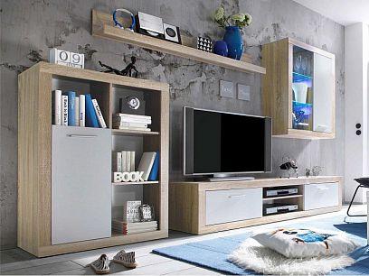 Sany obývací stěna, dub sonoma/bílá + LED osvětlení