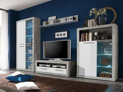 Step obývací stěna, beton/bílá + LED osvětlení