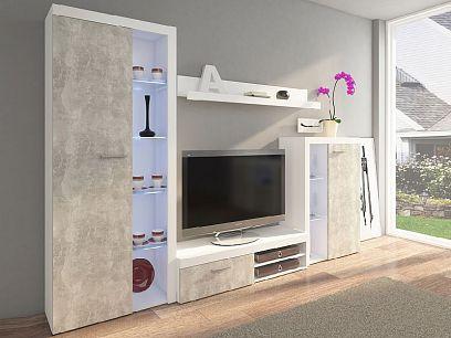 ROBBEN obývací stěna, beton/bílá
