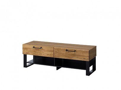 MONURIKI 24  televizní stolek, dub medový/černý mat