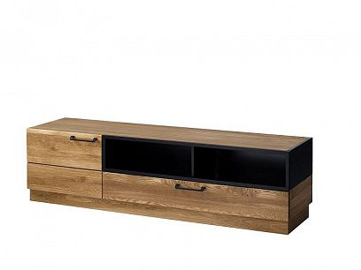 MONURIKI 25  televizní stolek, dub medový/černý mat
