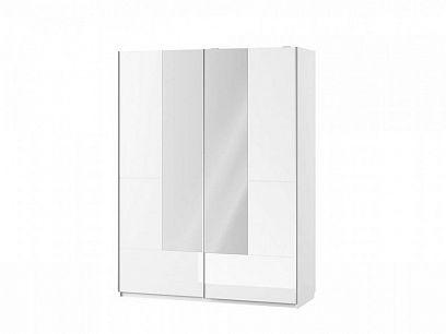 SAMOA 30 šatní skříň se zrcadlem, bílá mat/bílá lesk