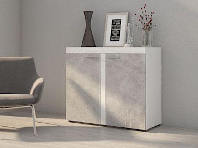 ROBBEN komoda 2F,  beton/bílá