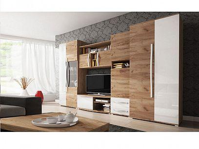 LORETA obývací stěna, dub zlatý/bílý lesk