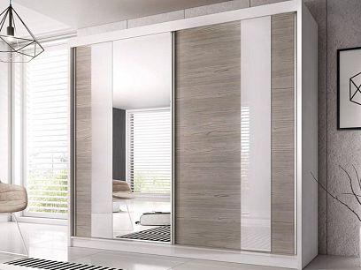 MURPHY 32 šatní skříň 230, bílá/bříza/zrcadlo/bílé sklo