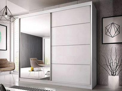 MURPHY 35 šatní skříň 230, bílá/bílý pololesk/ zrcadlo